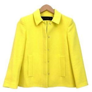 Zara Yellow Snap Front Lightweight Textured Jacket